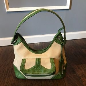 Canvas Tote with Green Trim